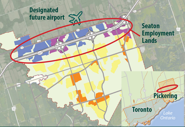 Designated future airport in Pickering and Seaton Employment Lands