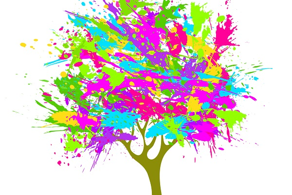 image of tree with splashes of colour