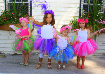 young girls playing dress up