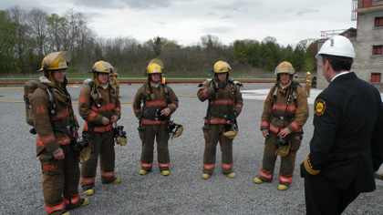 new fire fighter recruits in training
