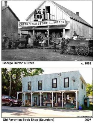 Black and White image of Green River Store